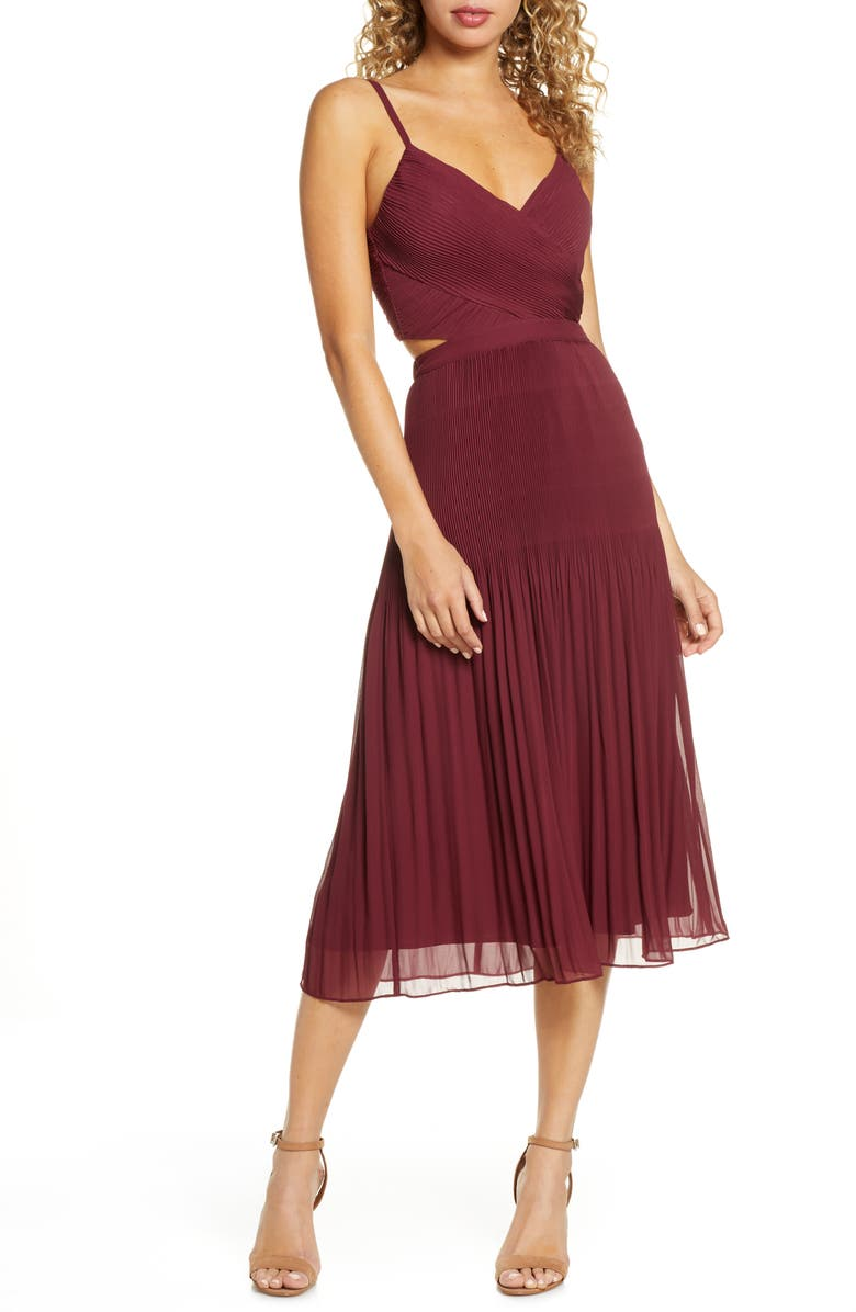 ALI & JAY For the Gram Chiffon Midi Dress, Main, color, MULBERRY