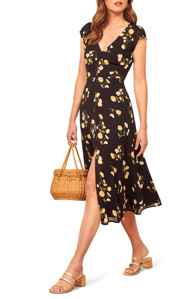 REFORMATION Floral Wellfleet Back Cutout Dress, Main, color, PIAZZA