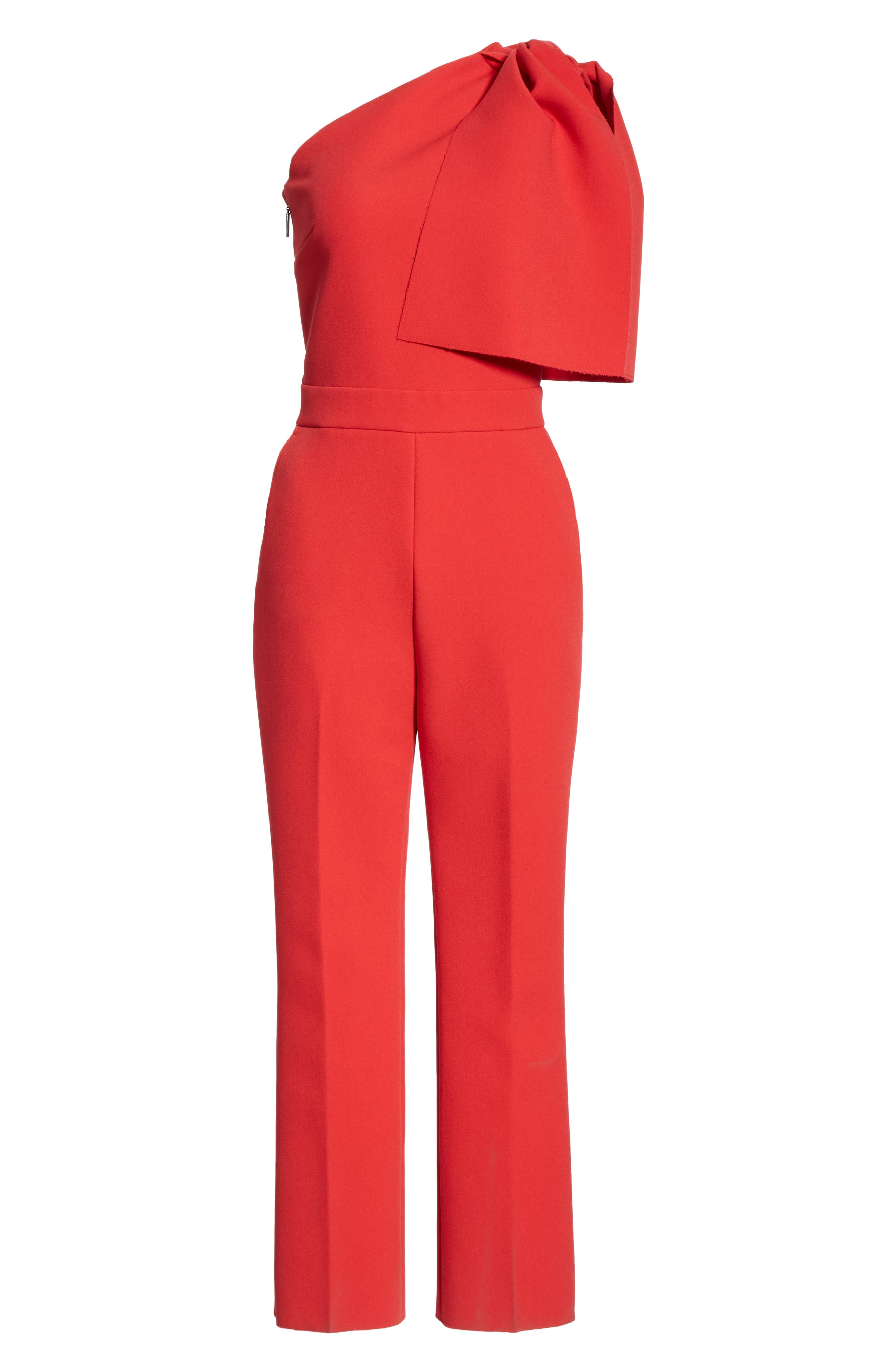 ,                             Bow One-Shoulder Jumpsuit,                             Alternate thumbnail 6, color,                             RED