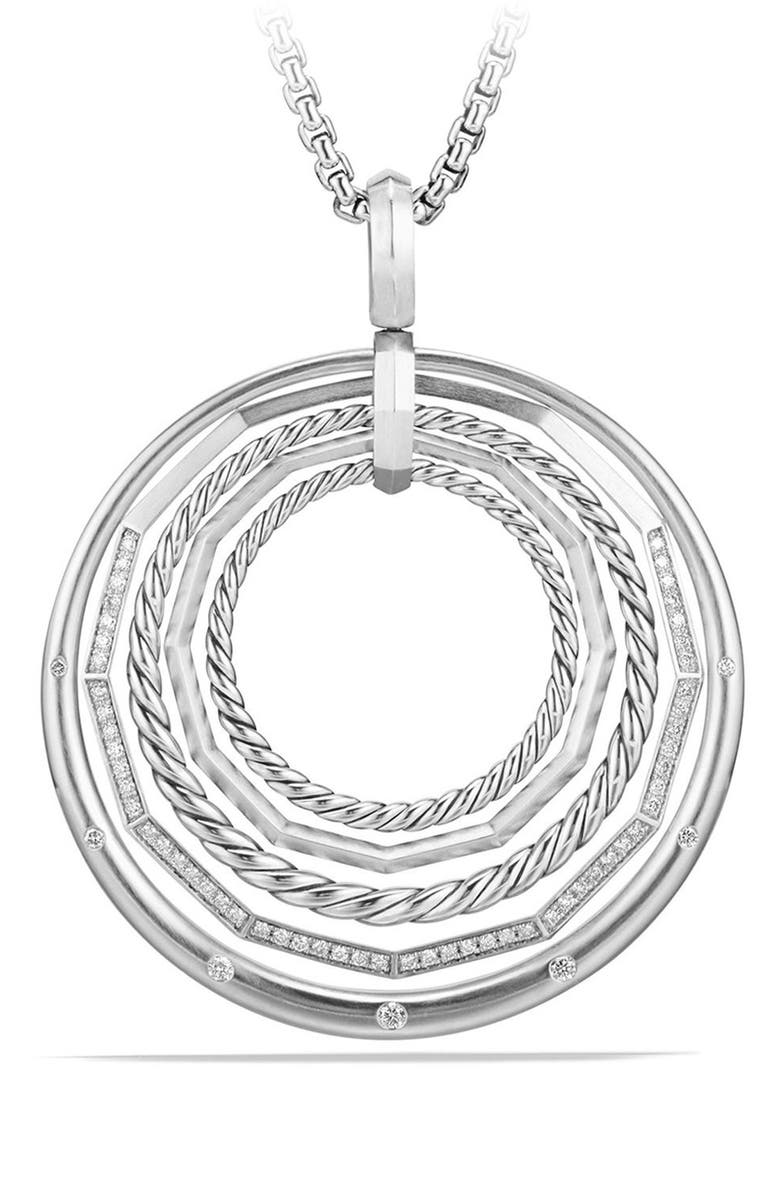 DAVID YURMAN Stax Large Pendant Necklace with Diamonds, Main, color, SILVER