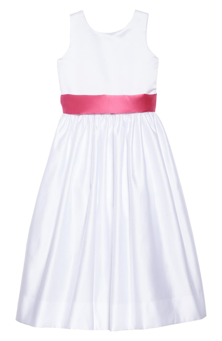 US ANGELS White Tank Dress with Satin Sash, Main, color, WHITE/ FUCHSIA