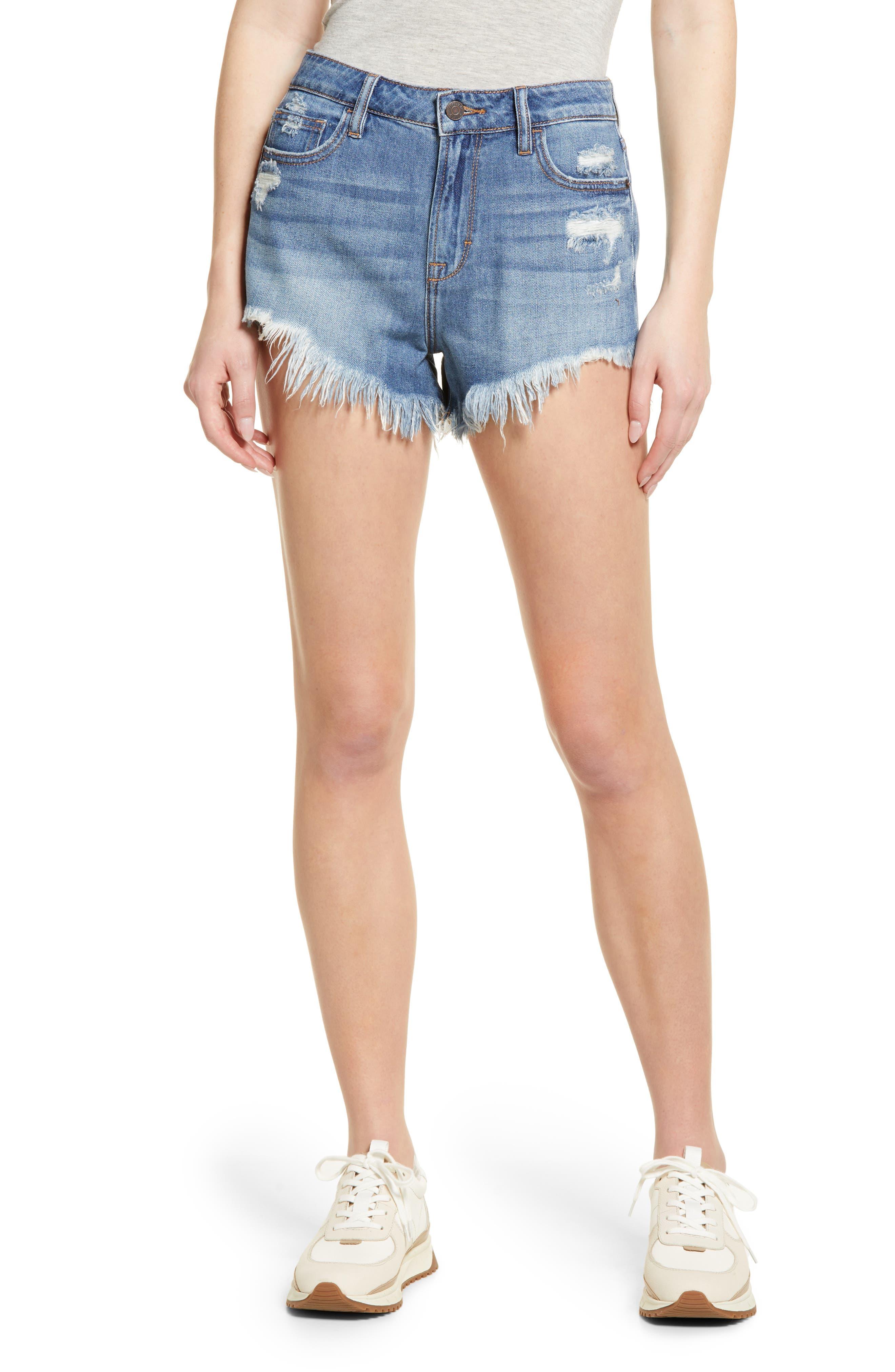 High Waist Super Frayed Hem Denim Shorts