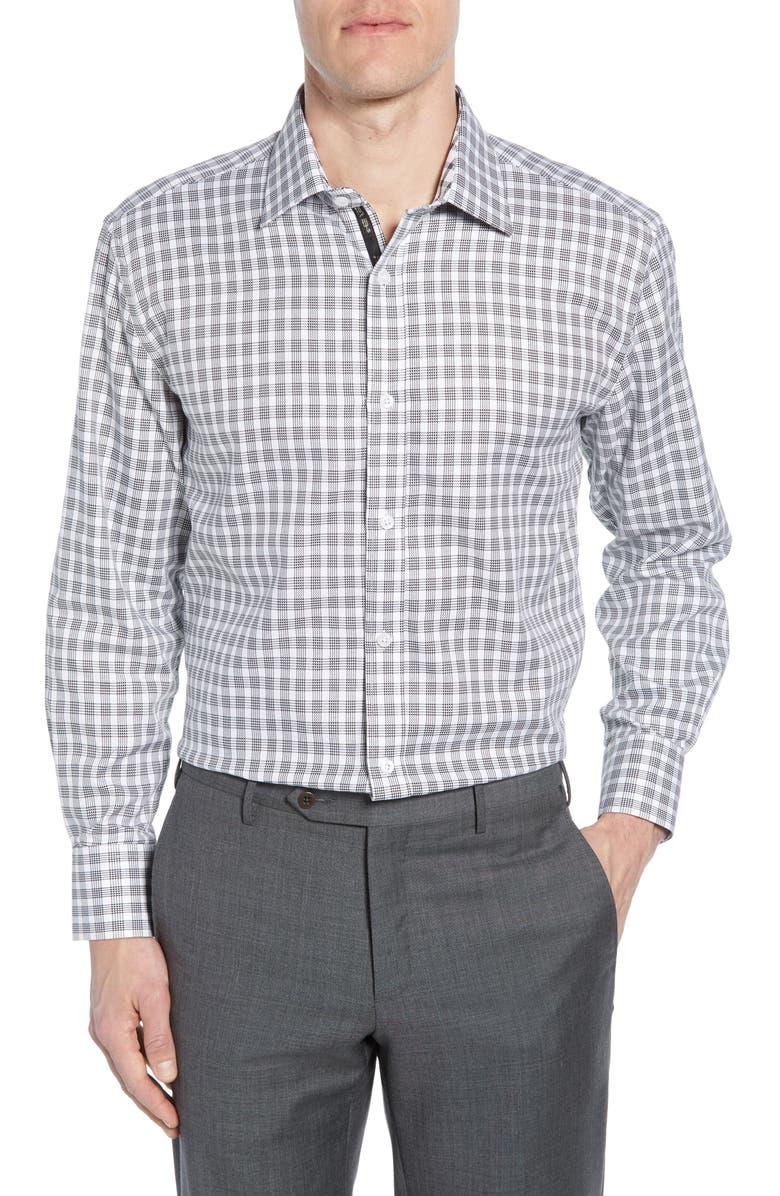 ENGLISH LAUNDRY Trim Fit Plaid Dress Shirt, Main, color, BLACK