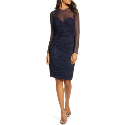 Eliza J Ruched Long Sleeve Illusion Mesh Cocktail Dress, Blue