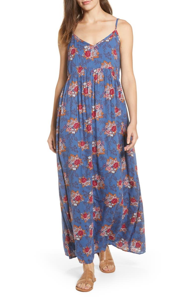 CASLON<SUP>®</SUP> Print Slip Maxi Dress, Main, color, BLUE C ANNA FLORAL PRINT