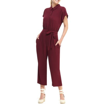 Petite Gal Meets Glam Collection Raina Button Front Crepe Jumpsuit, Burgundy