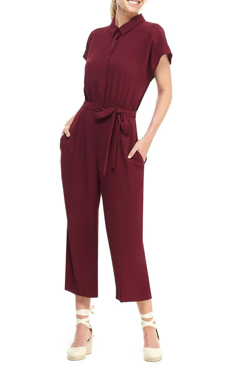 GAL MEETS GLAM COLLECTION Raina Button Front Crepe Jumpsuit, Main, color, PORT