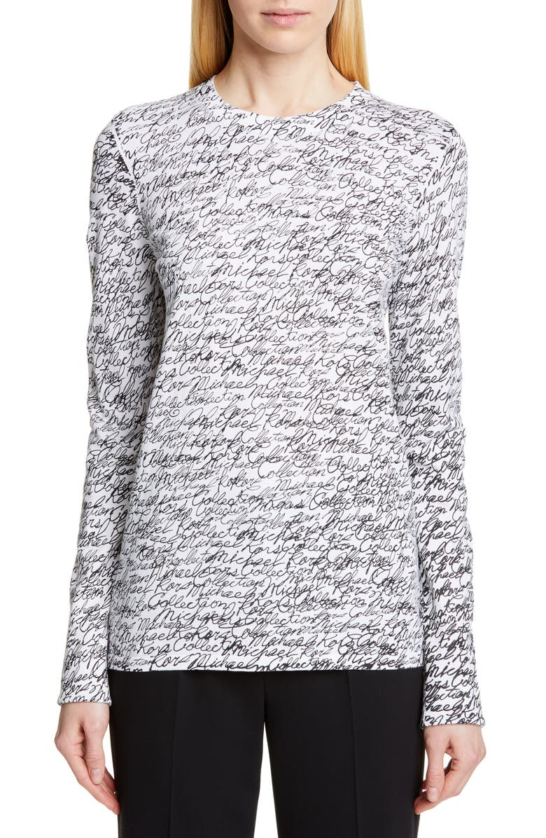 MICHAEL KORS COLLECTION Michael Kors Signature Print Long Sleeve Tee, Main, color, WHITE/ BLACK