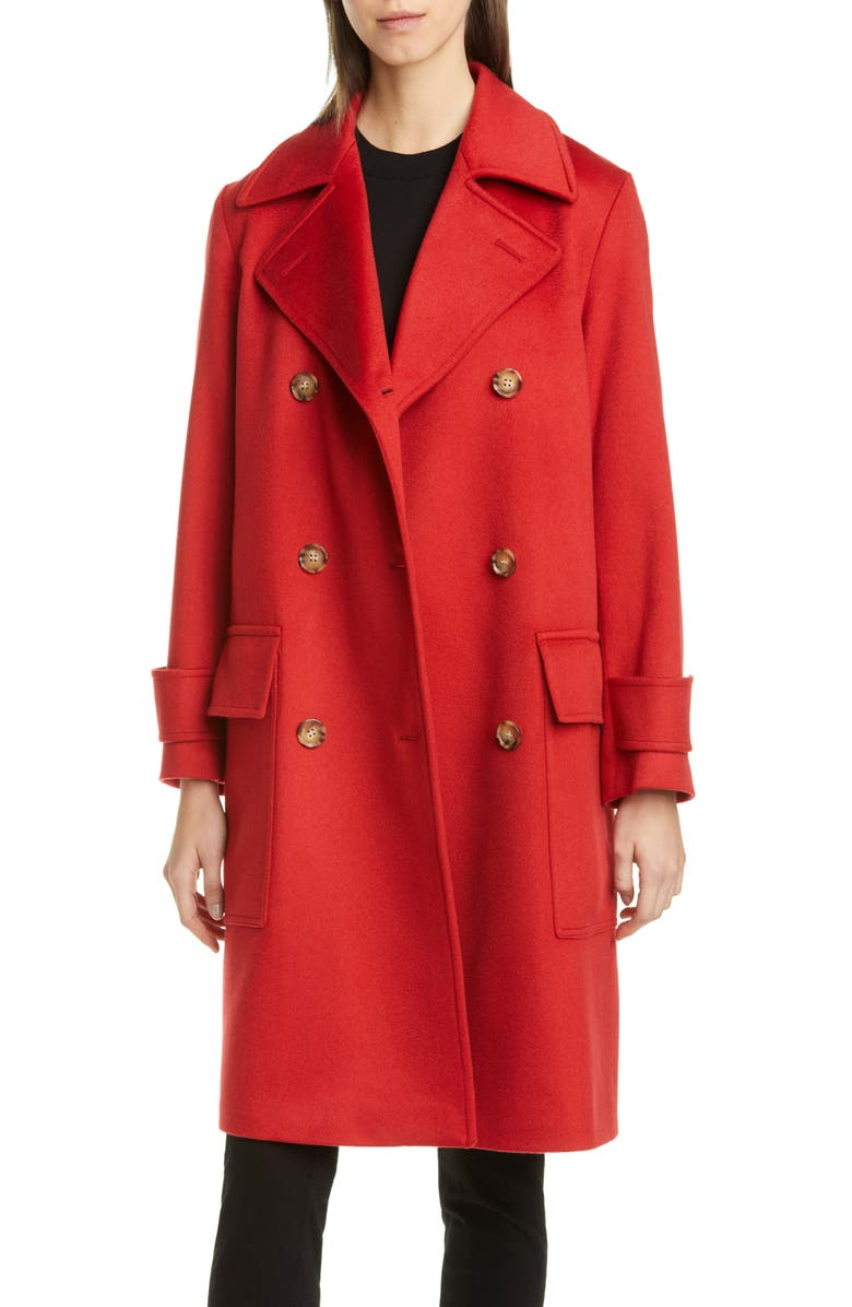 BURBERRY Earsdon Double Breasted Cashmere Coat, Main, color, DEEP RED