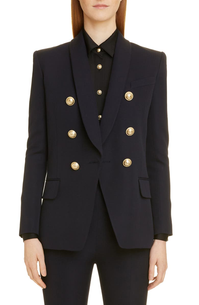 BALMAIN Double Breasted Wool Jacket, Main, color, 6UC MARINE
