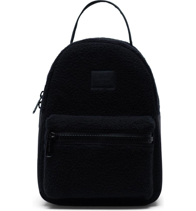 HERSCHEL SUPPLY CO. Mini Nova Fleece Backpack, Main, color, BLACK