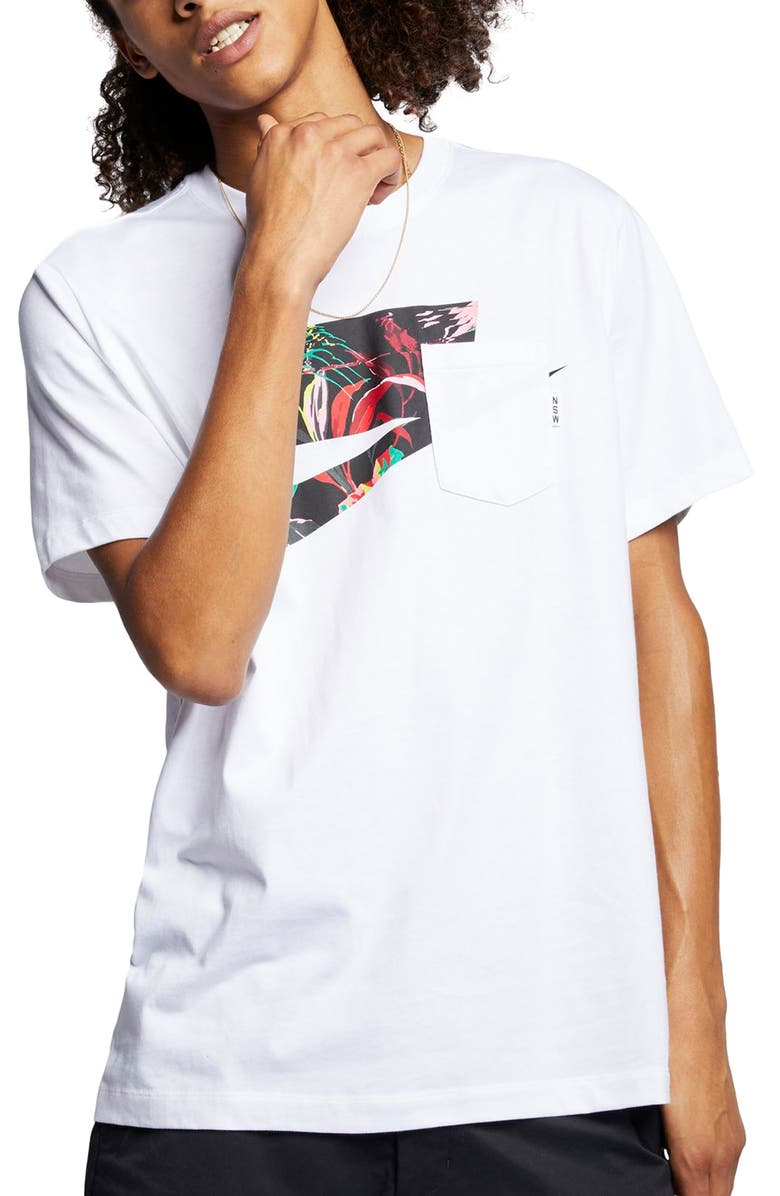 NIKE Sportswear Blocked Logo Pocket T-Shirt, Main, color, WHITE/ MULTI COLOR