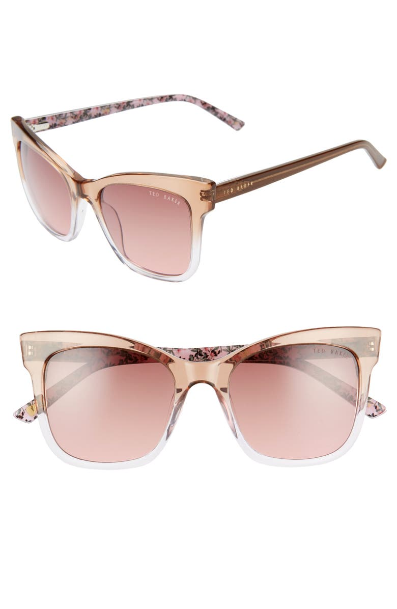 TED BAKER LONDON 51mm Square Cat Eye Sunglasses, Main, color, TAUPE