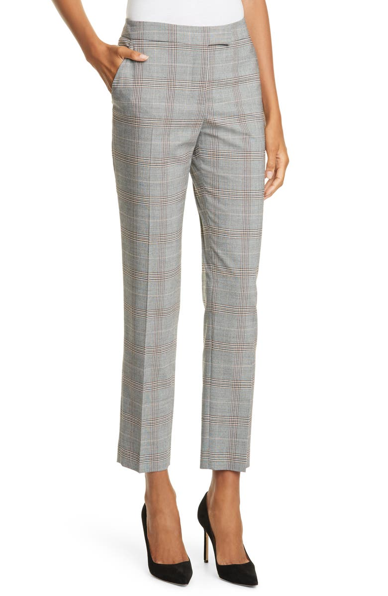 JUDITH & CHARLES Plaid Trousers, Main, color, GREY CHECK
