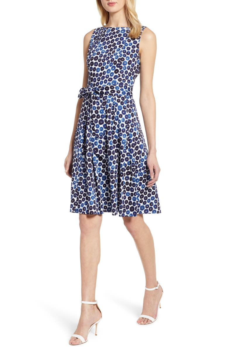 ANNE KLEIN Neroli Print Fit & Flare Dress, Main, color, 100