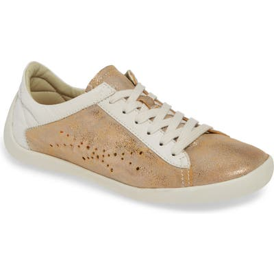 Softinos By Fly London Nie Perforated Low Top Sneaker, Beige