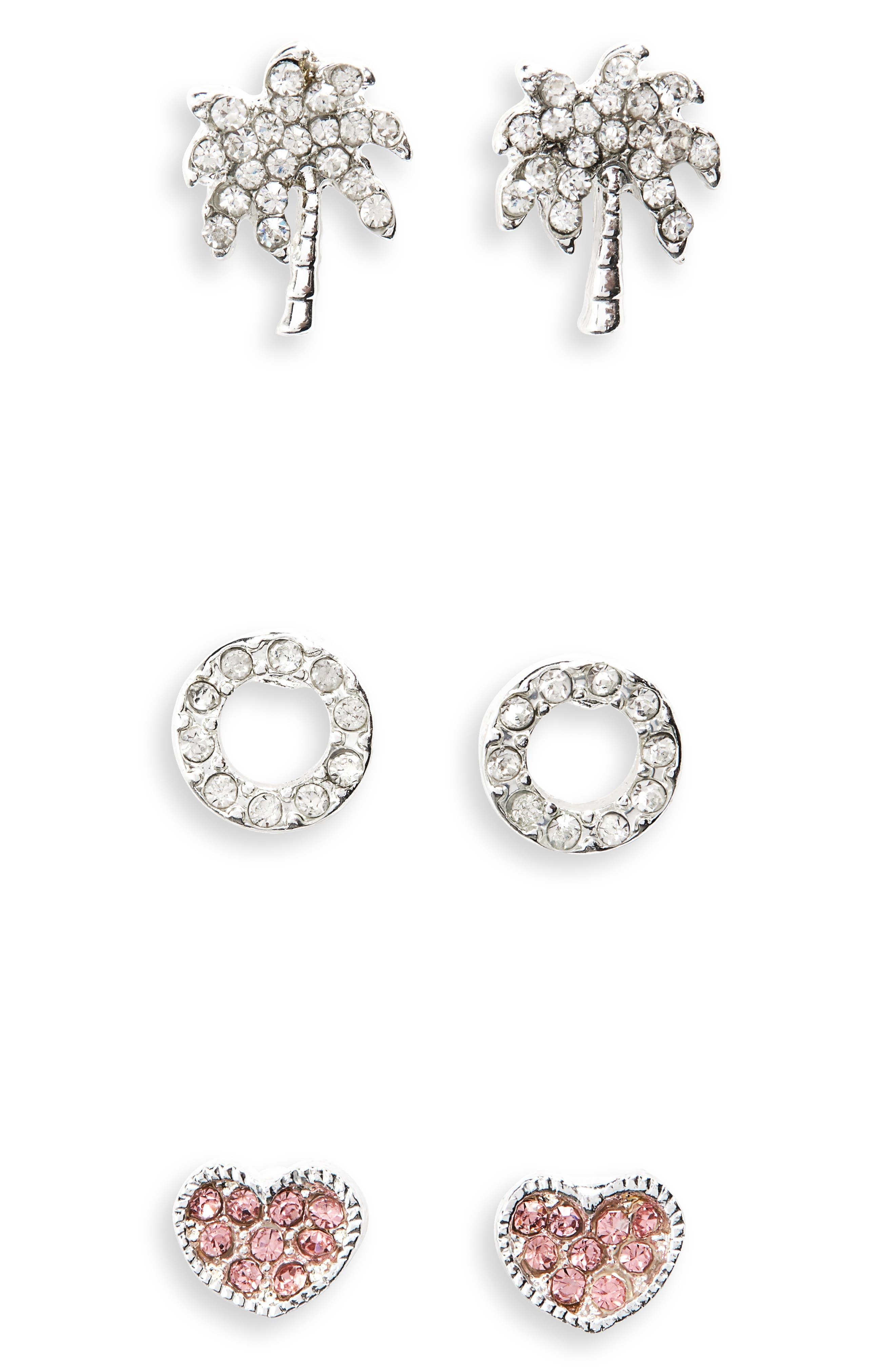 Girls Cara 3Pack Stud Earrings