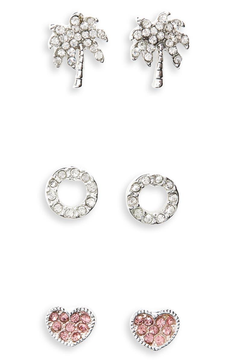 CARA 3-Pack Stud Earrings, Main, color, SILVER