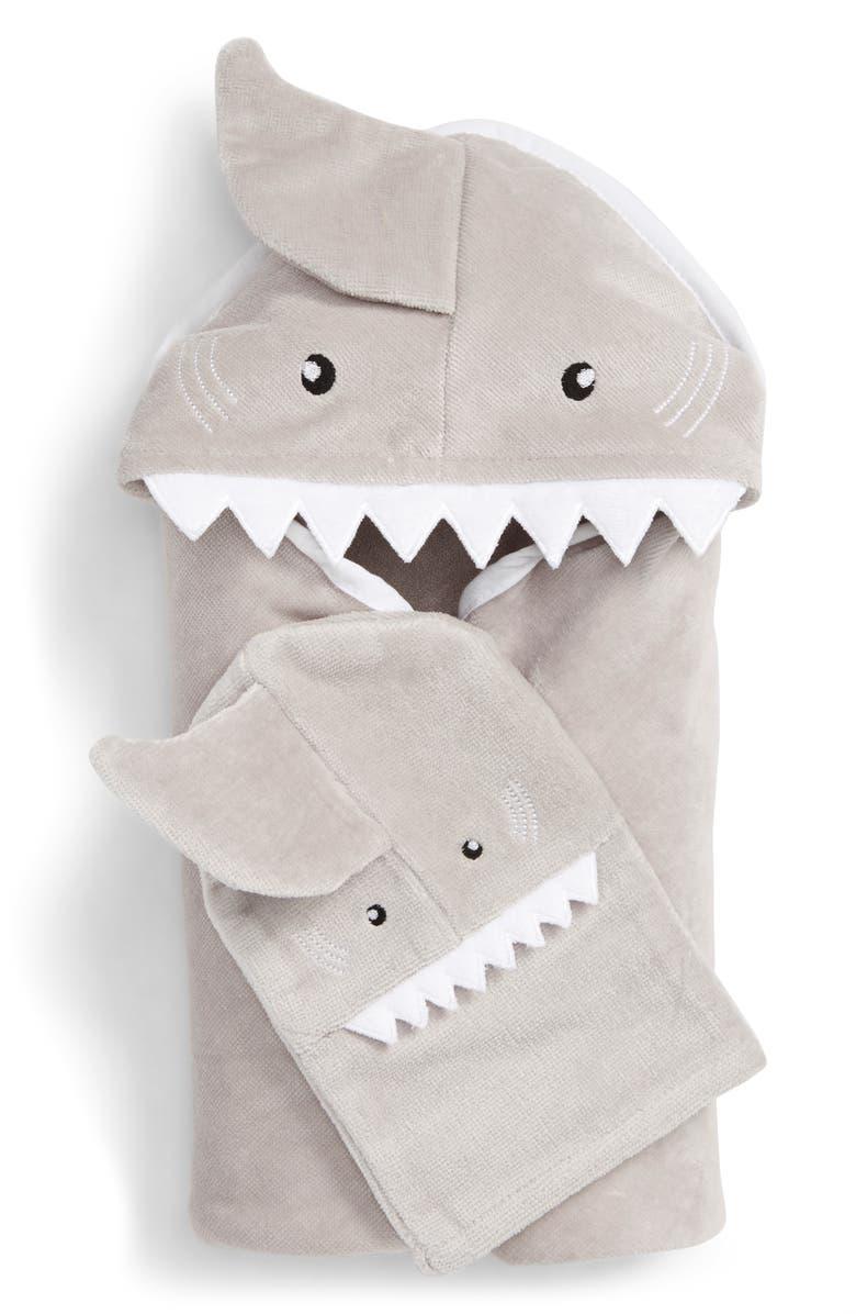 NORDSTROM BABY Towel & Washcloth Set, Main, color, GREY MICRO SHARK