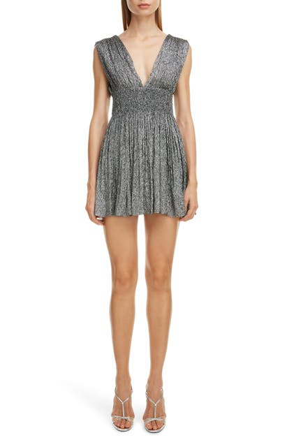 Saint Laurent Dresses PLUNGING SILK BLEND LAME MINIDRESS