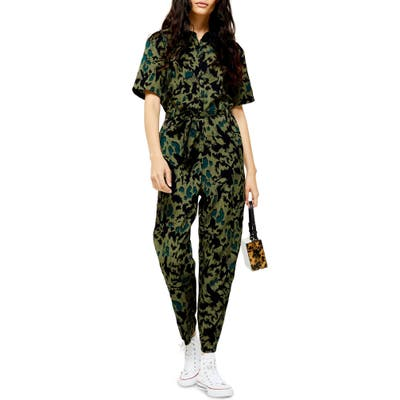 Topshop Animal Print Jumpsuit, US (fits like 10-12) - Green