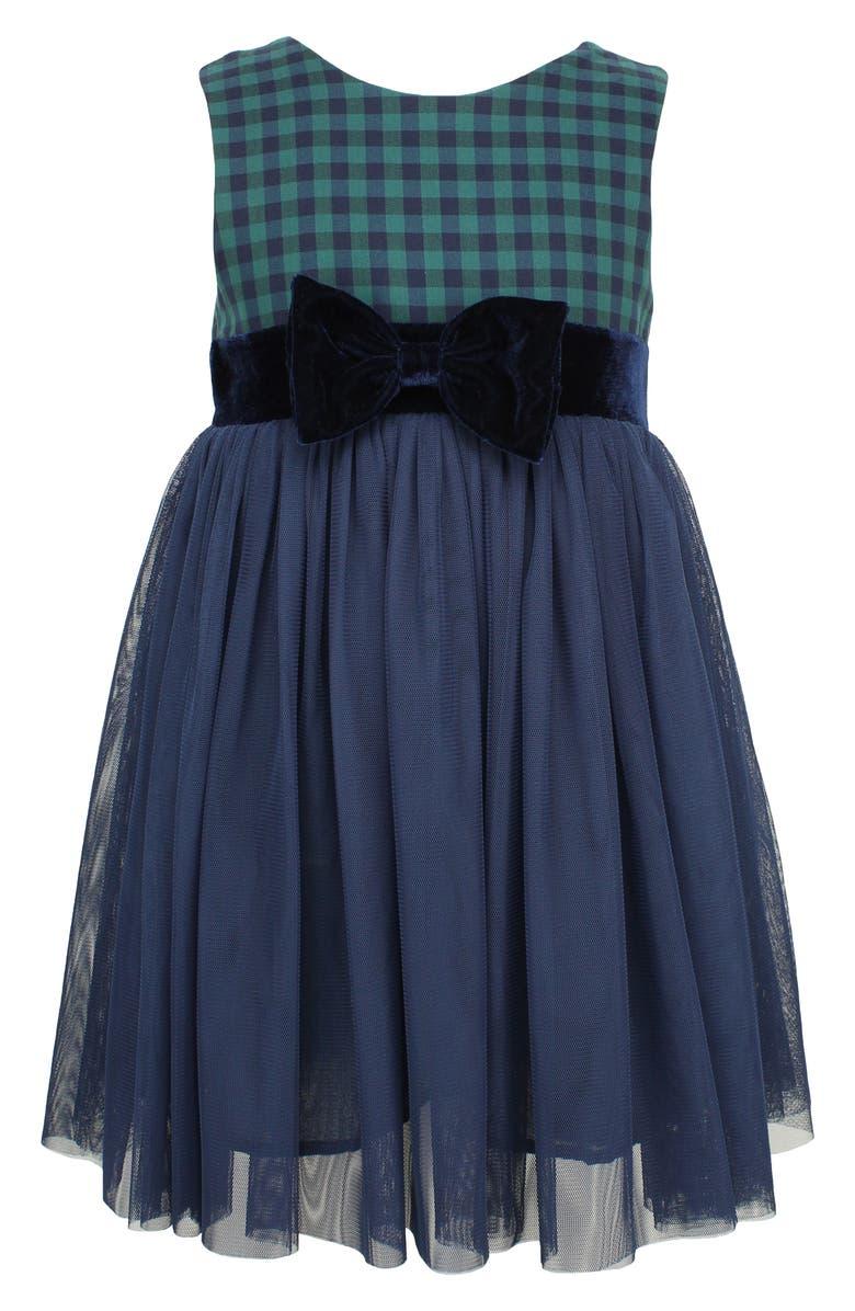 POPATU Check Sleeveless Tulle Dress, Main, color, NAVY