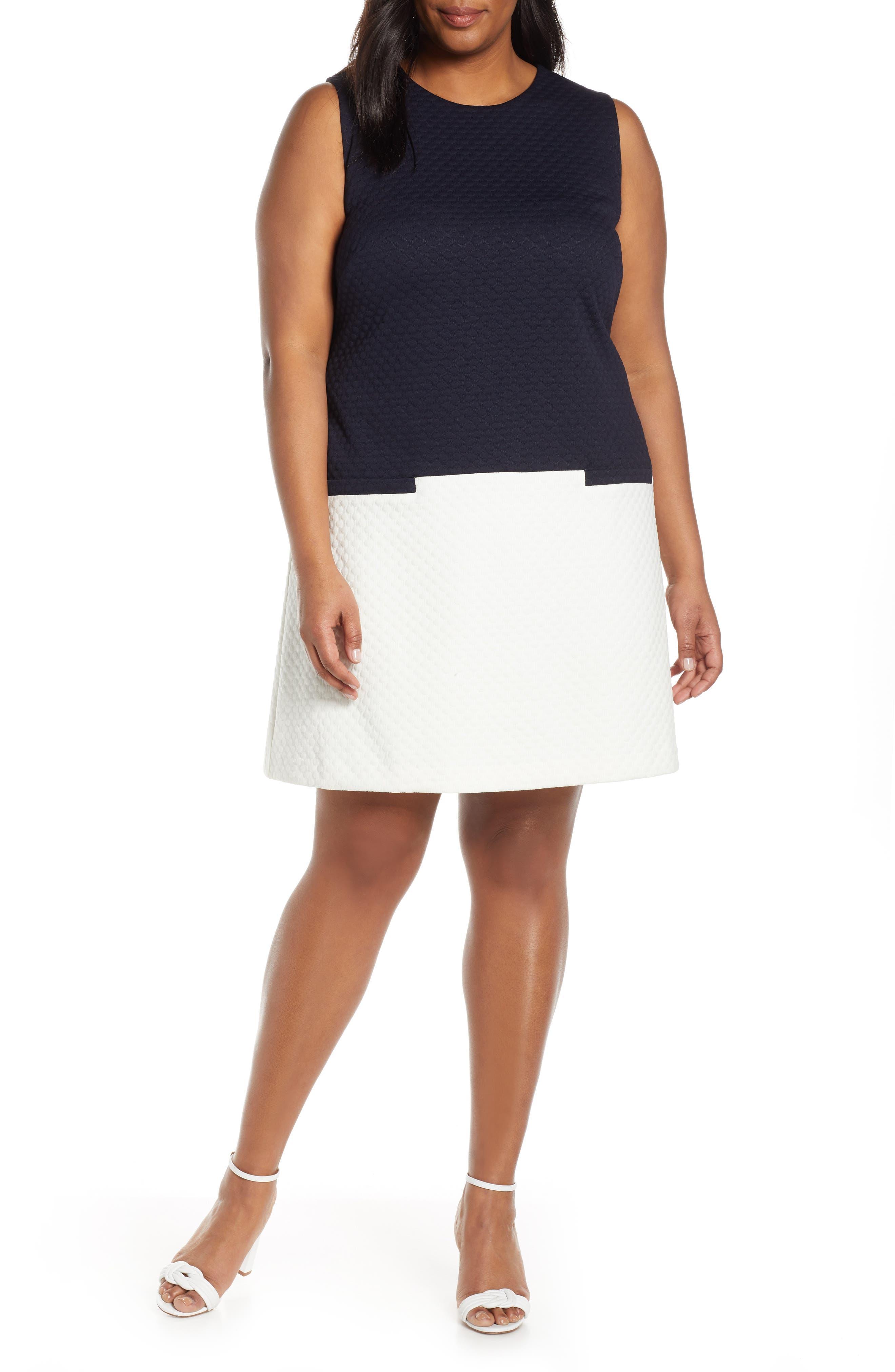 Plus Size Eliza J Colorblock Jacquard Dress, Blue