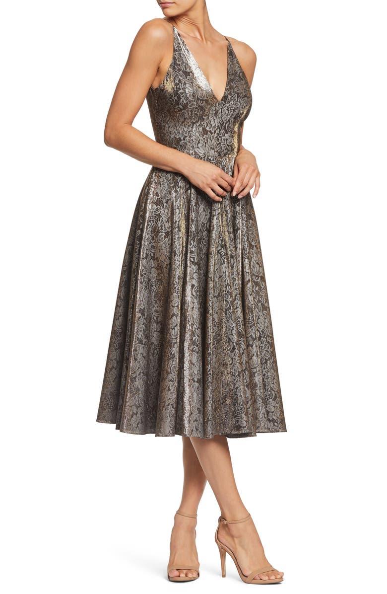 DRESS THE POPULATION Delilah Plunging Jacquard Fit & Flare Midi Dress, Main, color, GOLD/ BLACK