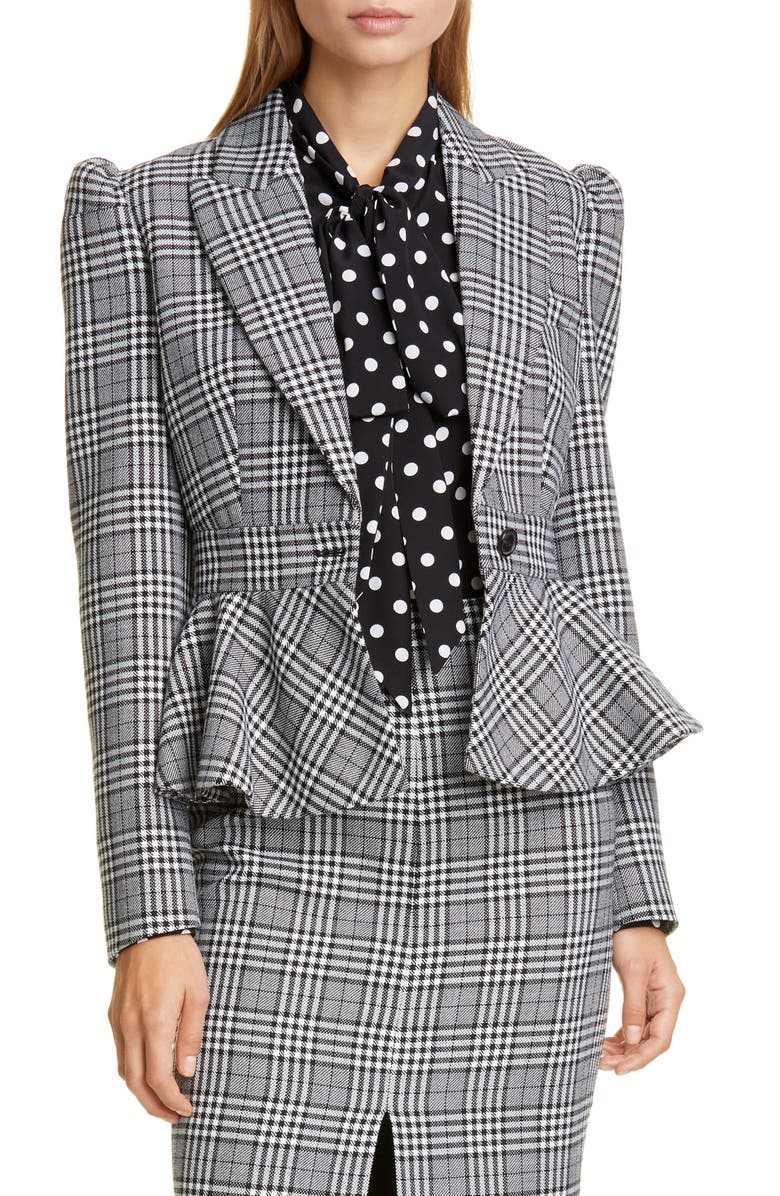MICHAEL KORS COLLECTION Glen Plaid Wool Peplum Jacket, Main, color, BLACK/ WHITE