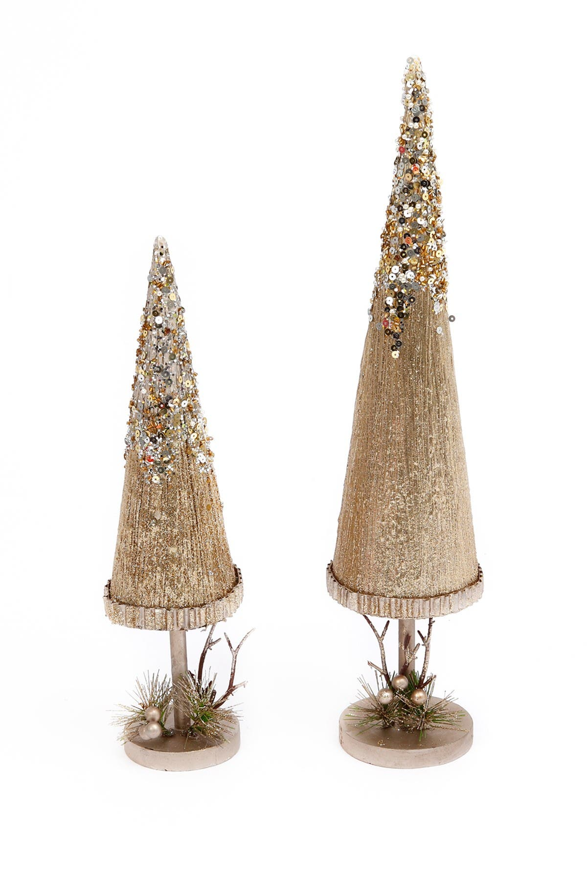 Image of Gerson Company Holiday Gold Glitter Pine & Berry Accent Trees - Set of 2
