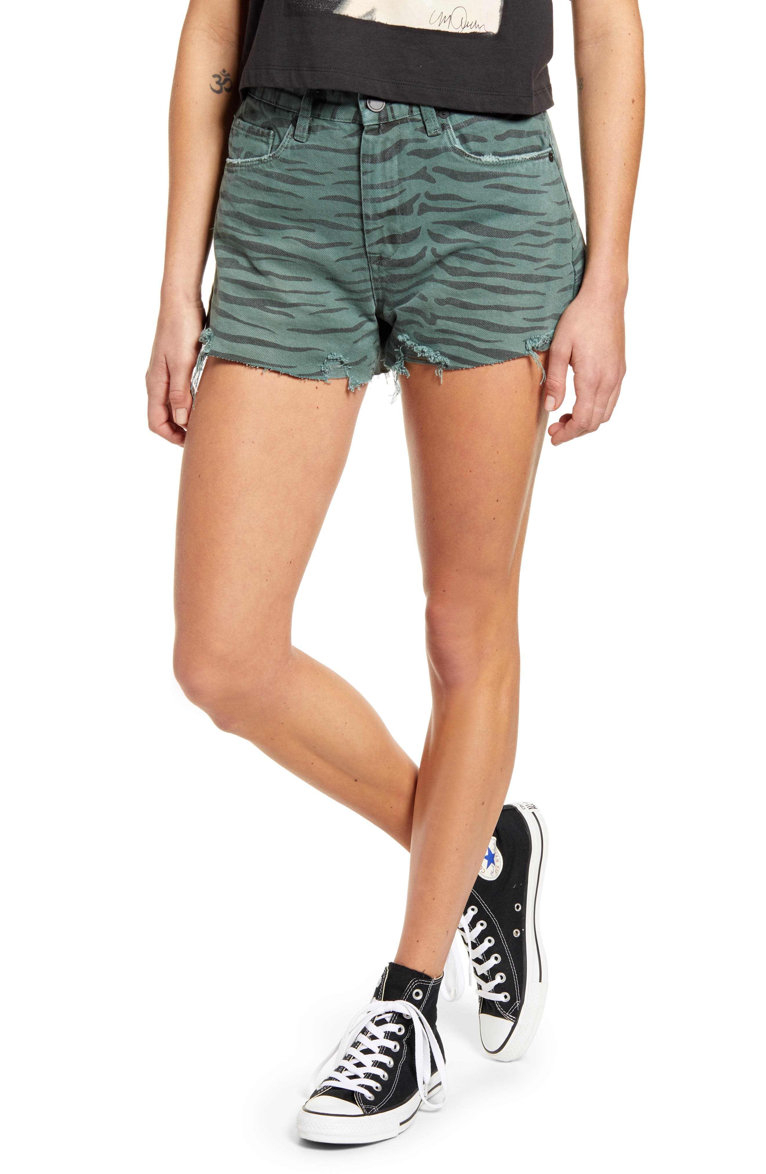 Women's Blanknyc The Barrow Tiger Print High Waist Denim Shorts,  24 - Green