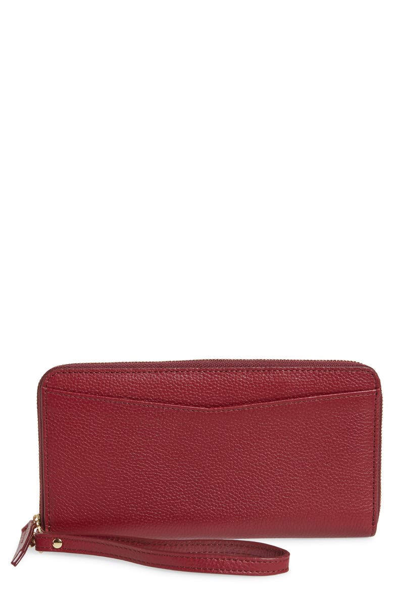 NORDSTROM Zip Around Leather Continental Wallet, Main, color, 601