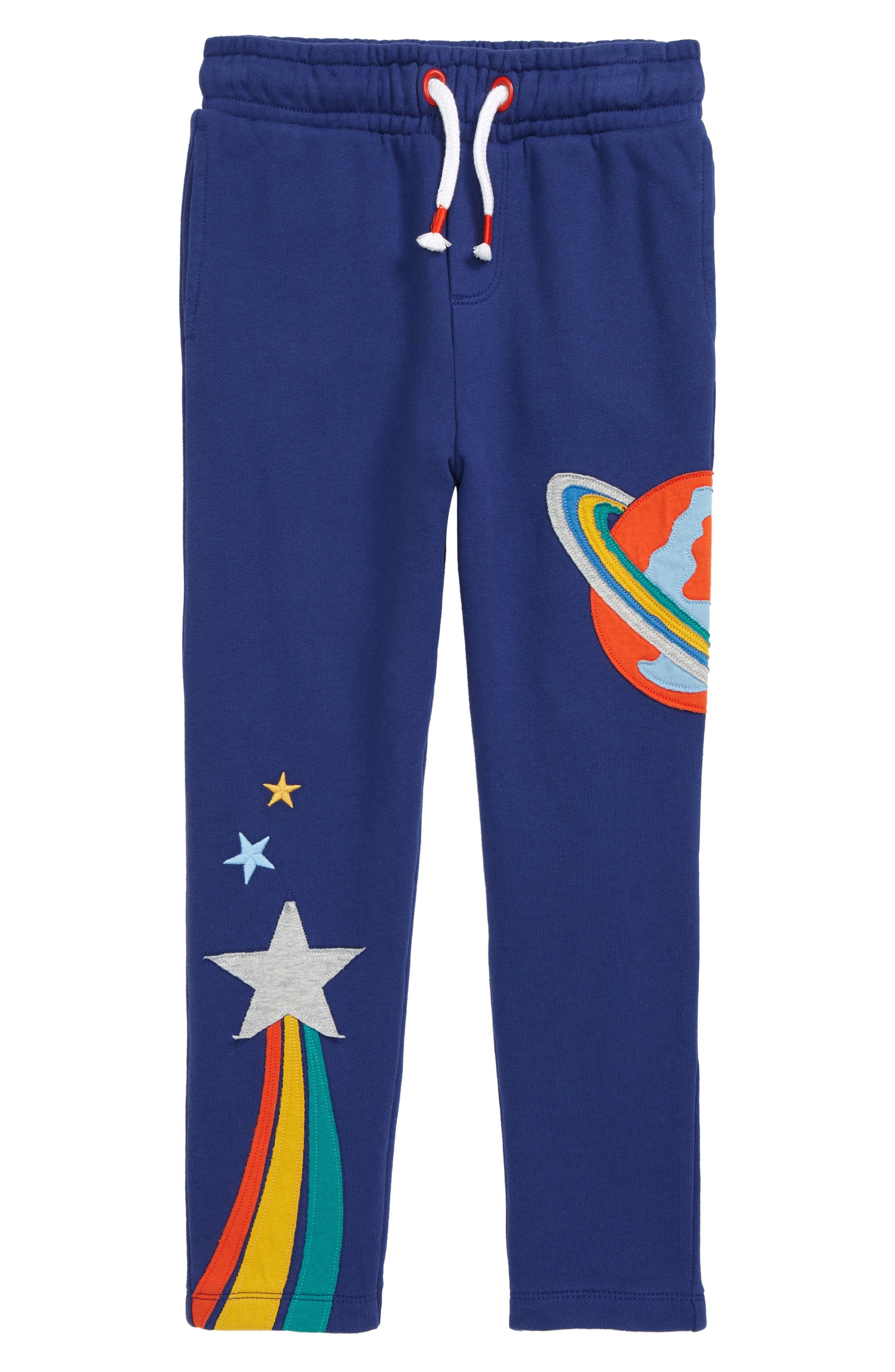 These joggers made from soft and breathable cotton with out-of-this-world appliques are perfect for backyard adventures or exploring the outer reaches of space. Style Name: Mini Boden Outer Space Applique Joggers (Toddler, Little Boy & Big Boy). Style Number: 6102263. Available in stores.