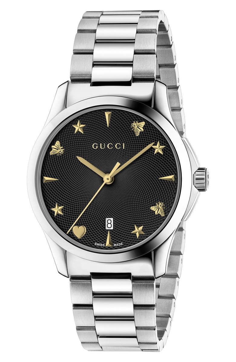 GUCCI G-Timeless Bracelet Watch, 38mm, Main, color, SILVER/ BLACK/ SILVER