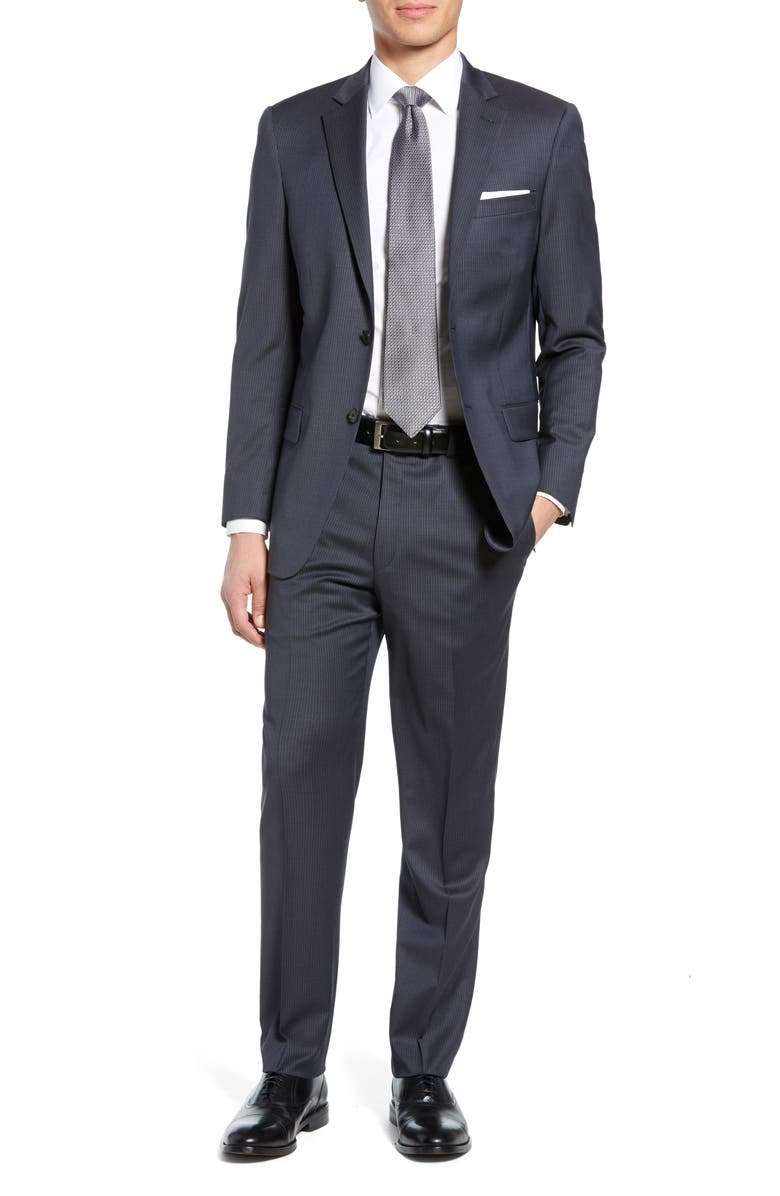 HART SCHAFFNER MARX New York Classic Fit Stripe Stretch Wool Suit, Main, color, 030