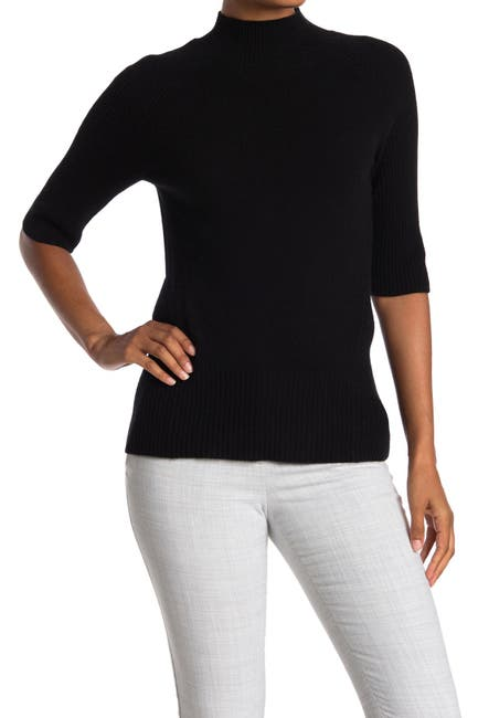 Image of M Magaschoni Mock Neck Elbow Sleeve Cashmere Pullover