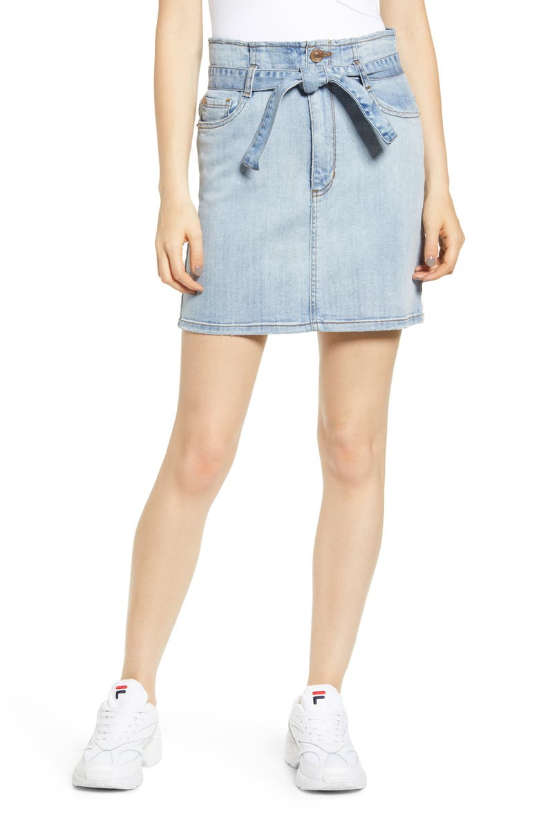 STS BLUE Belted Denim Skirt, Main, color, 400
