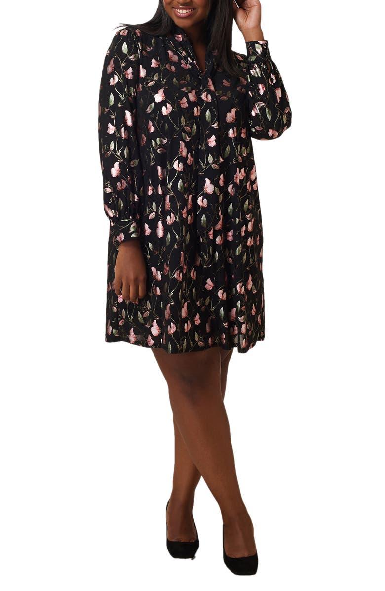 Floral Foil Print Long Sleeve Trapeze Dress