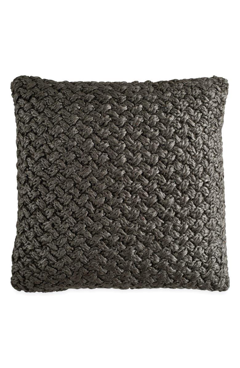 MICHAEL ARAM Metallic Knit Accent Pillow, Main, color, CHARCOAL