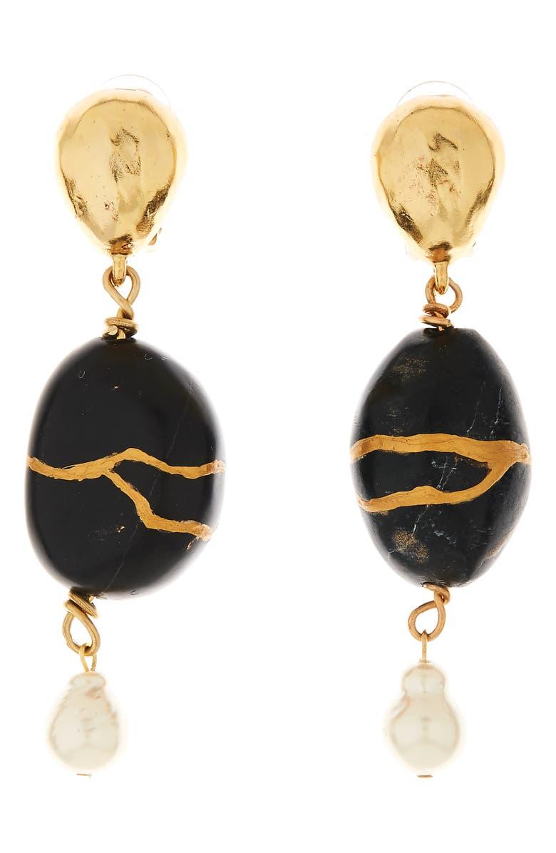 OSCAR DE LA RENTA Kintsugi Stone & Freshwater Pearl Drop Earrings, Main, color, 001