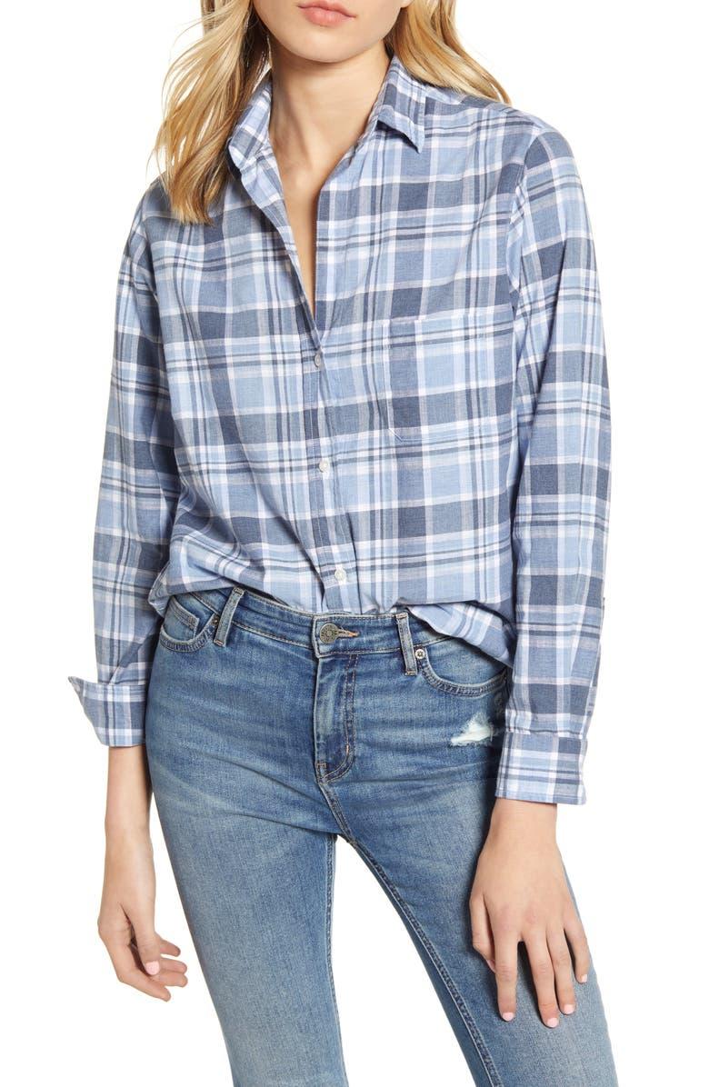 GRAYSON The Hero Plaid Washed Cotton Shirt, Main, color, OWEN BLUE MULTI PLAID