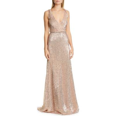 Pronovias Sequin A-Line Gown, Metallic