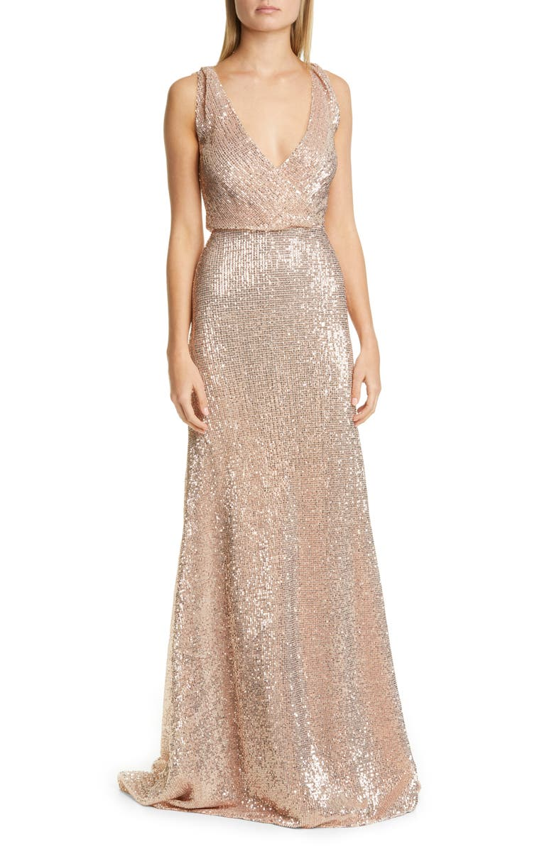 PRONOVIAS Sequin A-Line Gown, Main, color, METAL NUDE BEADING