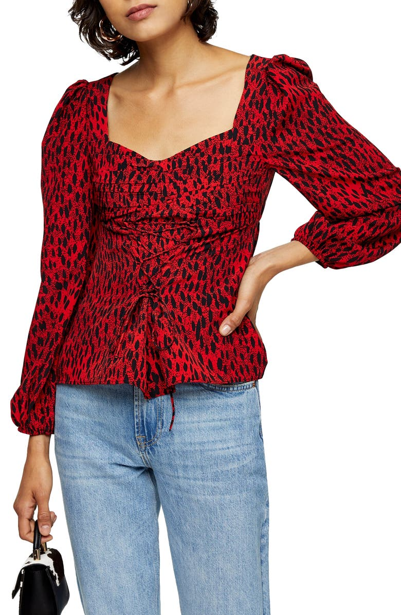 TOPSHOP Leopard Ruched Prairie Top, Main, color, RED MULTI