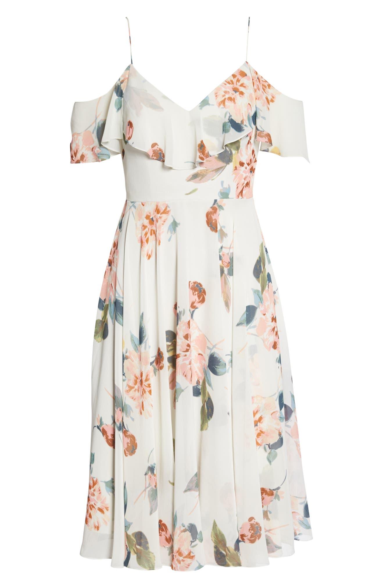 aca55de5922f Jenny Yoo Kelli Ohana Print Chiffon Cold Shoulder Dress | Nordstrom