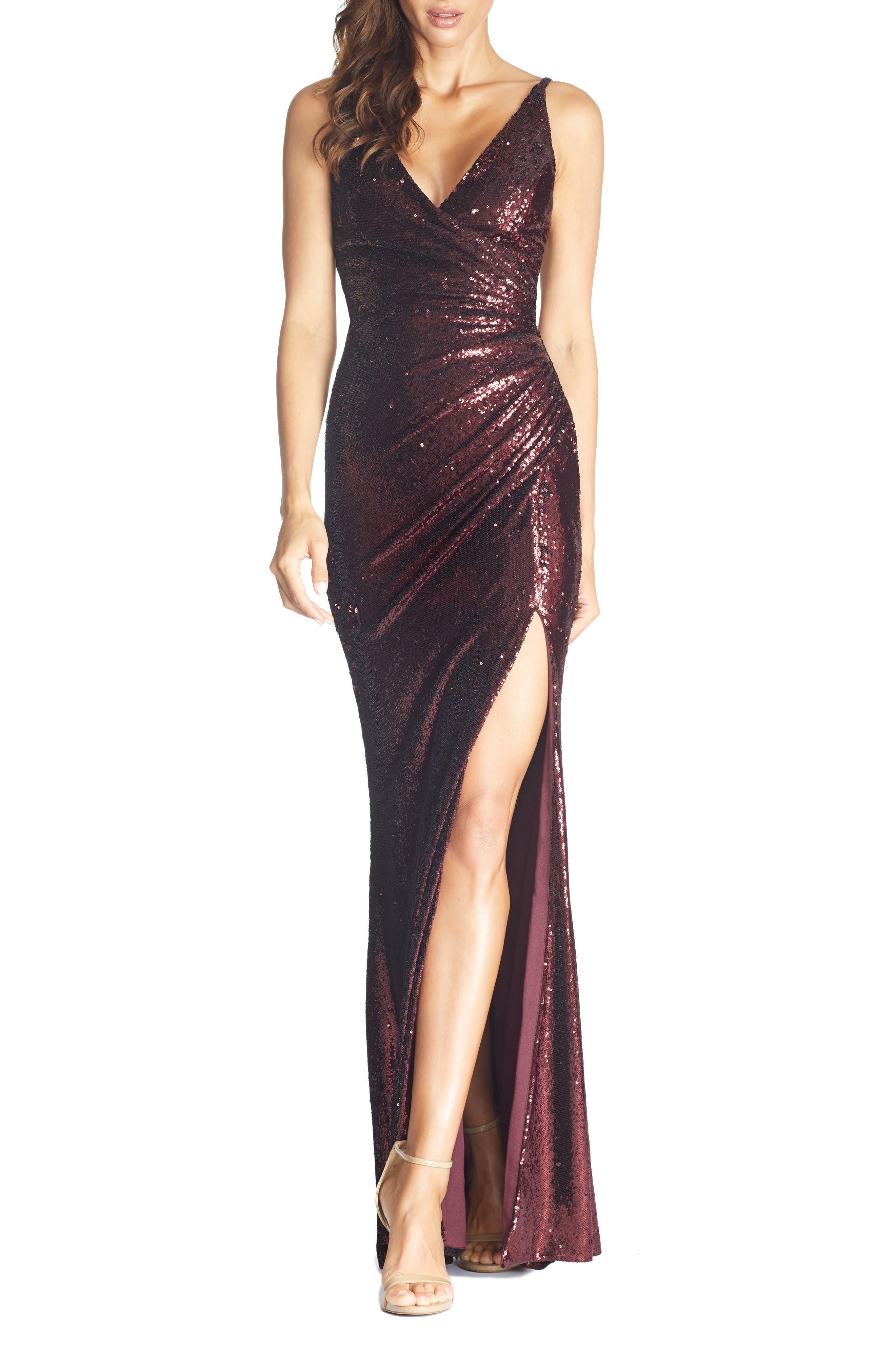 70s Dresses – Disco Dress, Hippie Dress, Wrap Dress Womens Dress The Population Jordan Ruched Mermaid Gown Size X-Large - Red $348.00 AT vintagedancer.com