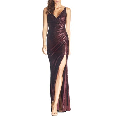Dress The Population Jordan Ruched Mermaid Gown, Red