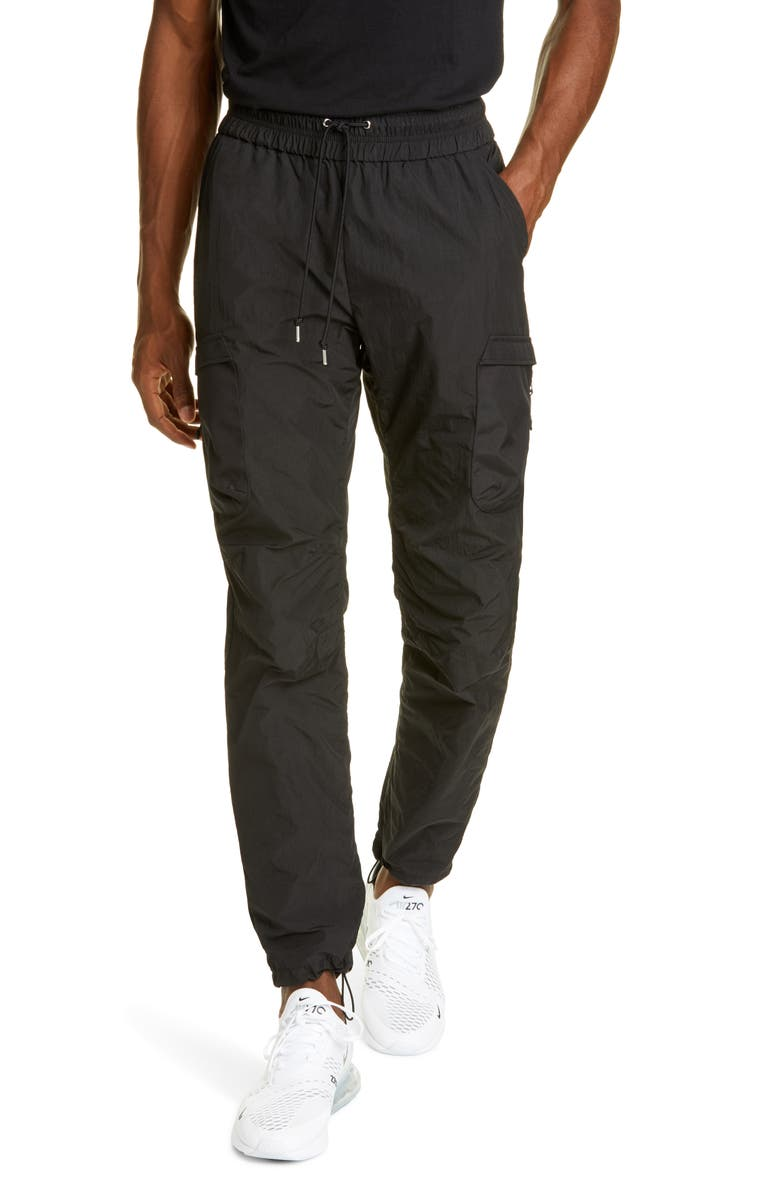 JOHN ELLIOTT High Shrunk Nylon Water Repellent Cargo Pants, Main, color, BLACK