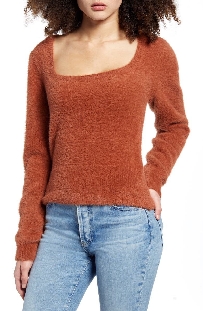 ASTR THE LABEL Fuzzy Crop Sweater, Main, color, 205