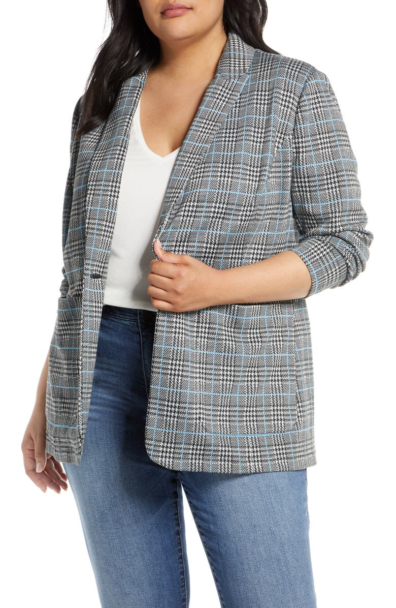 VINCE CAMUTO Plaid Ponte Blazer, Main, color, SERENE LAKE